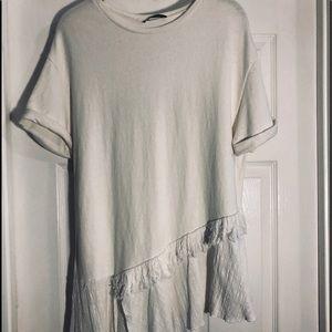 Zara cream t shirt tunic style asymmetric design